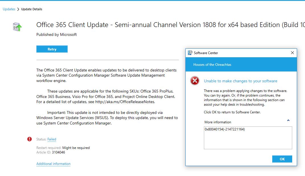 SCCM office 365 update Error 0x80040154 ( -2147221164