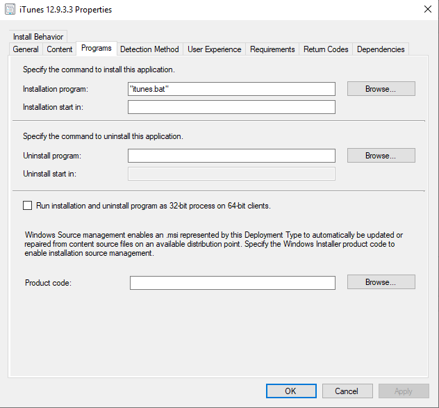 How to install iTunes silent with SCCM
