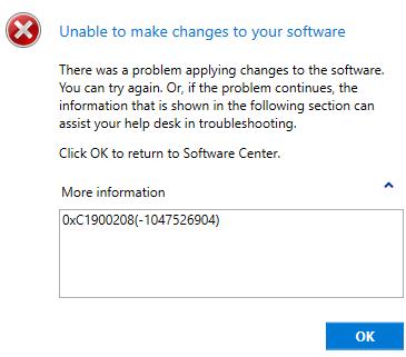 SCCM Error 0xC1900208 deploying Windows 10 1903