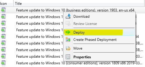 Upgrade windows 10 1903 using sccm step by step