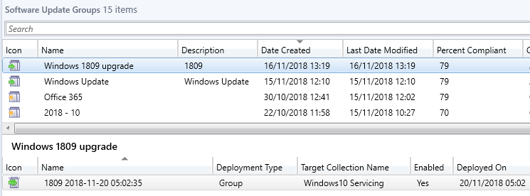 Install/upgrade Windows 10 feature update 1809 with SCCM