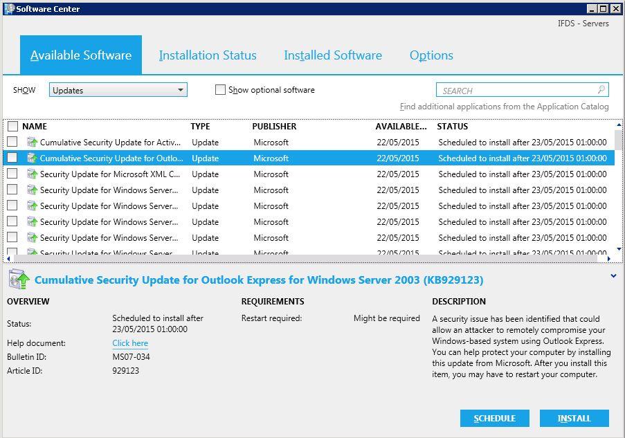SCCM updates procedure for servers