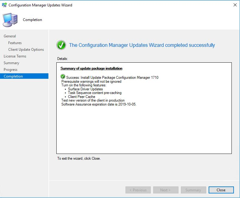 SCCM_Upgrade_1710_Install_Completion