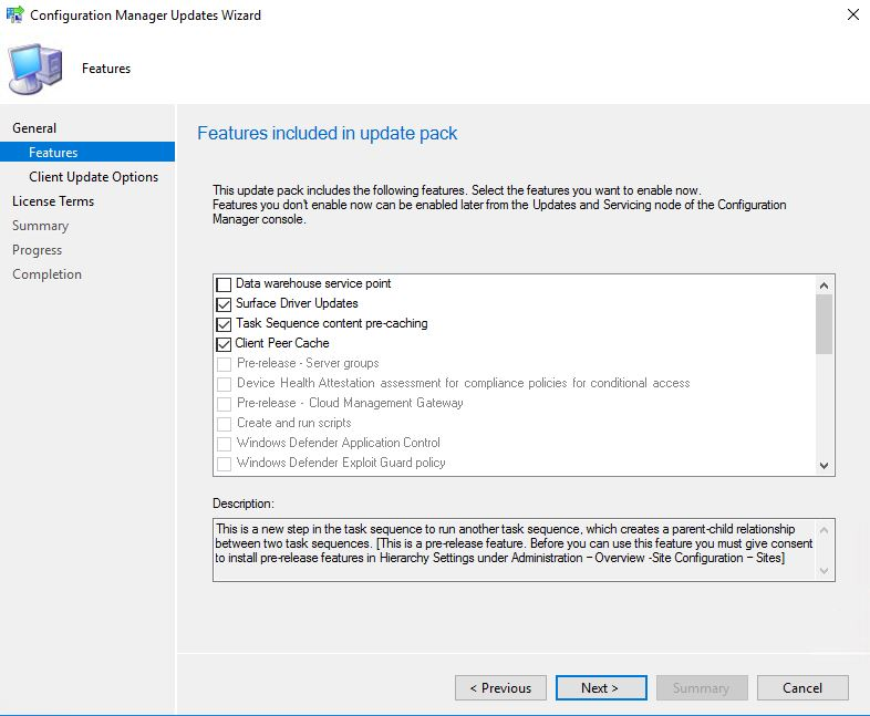 SCCM_Upgrade_1710_Install_Update_Features