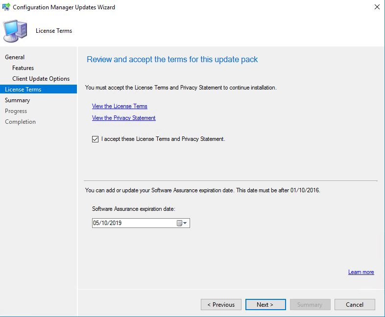 SCCM_Upgrade_1710_Install_Update_Licence