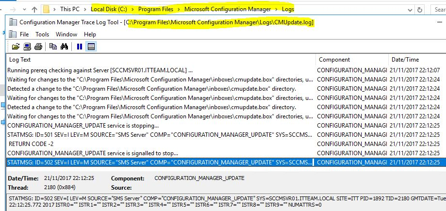 SCCM_Upgrade_1710_Install_Update_Logs