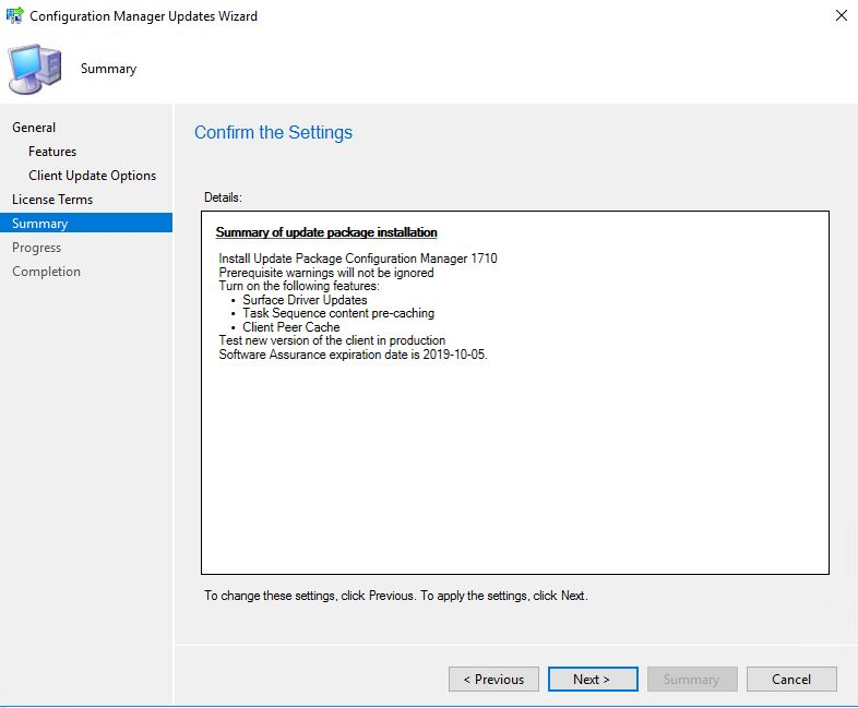 SCCM_Upgrade_1710_Install_Update_Summary