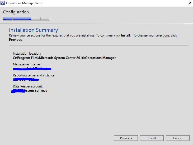 SCOM 2016 install Reporting Server