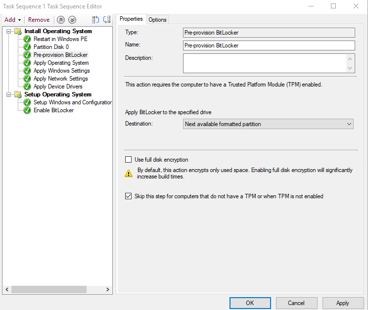 How to use SCCM Task Sequence to enable, configure and