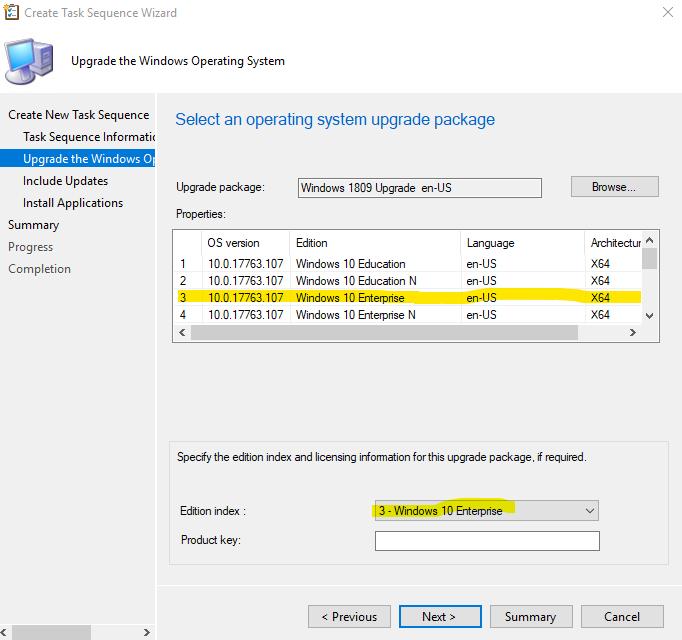 SCCM upgrade windows 10 using Operating System Ugrade package